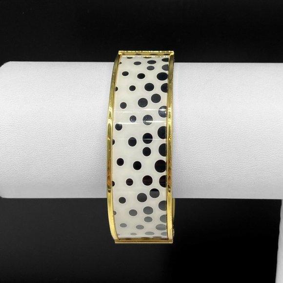 Talbots Black Polka Dot Enamel Bangle Bracelet